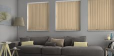 Banlight Duo Old Gold Vertical Blinds in a lounge