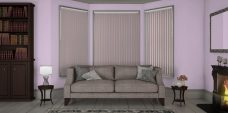 Banlight Duo Orchid Vertical Blinds in a lounge