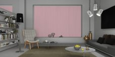 Banlight Duo Pink Vertical Blinds in a study