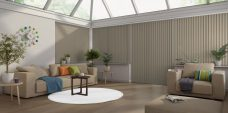 Banlight Duo Sand Vertical Blinds in a kitchen