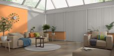 Banlight Duo Silver Vertical Blinds in a conservatory