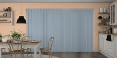 Banlight Duo Smokey Blue Vertical Blinds in a kitchen