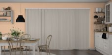 Banlight Duo Stone Grey Vertical Blinds in a kitchen
