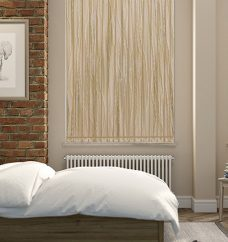 Cabana Sand Vertical Blinds in a bedroom