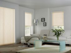 Chantilly Lace Cream Vertical and roller blinds in a lounge