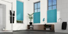Crush Aquamarine Pleated Blinds in a bathroom