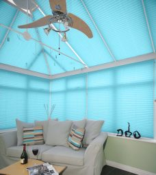 Crush Aquamarine Solar Reflective Pleated Blinds