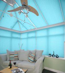 Crush Aquamarine Solar Reflective Pleated Blinds