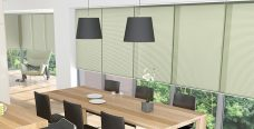 Crush Blossom Pleated Blinds in a dining room
