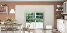 Crush Ivory Pleated Blinds in a kitchen