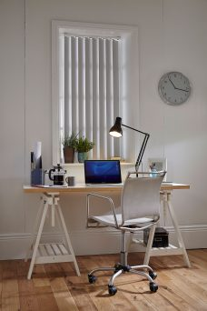 Dimensions Grey Vertical Blinds in an office