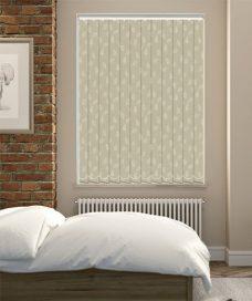 Lauren Almond Vertical Blinds in a bedroom
