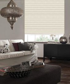 Lauren Almond Pleated Blind in a lounge