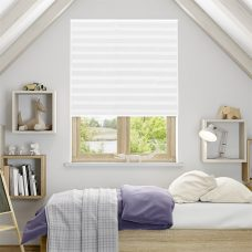 Lauren Crystal White Pleated Blind in a bedroom