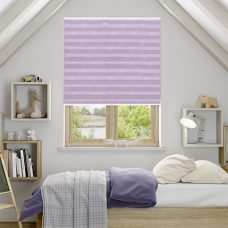 Lauren Pale Lilac Pleated Blind in a bedroom