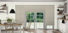 Manhatten Beige Pleated Blinds in a kitchen
