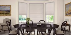 Marcello Golden Sand Pleated Blinds in a dining room