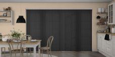 Palette Black Vertical Blinds in a kitchen