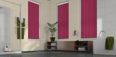 Palette Fuschia Vertical Blinds in a bathroom