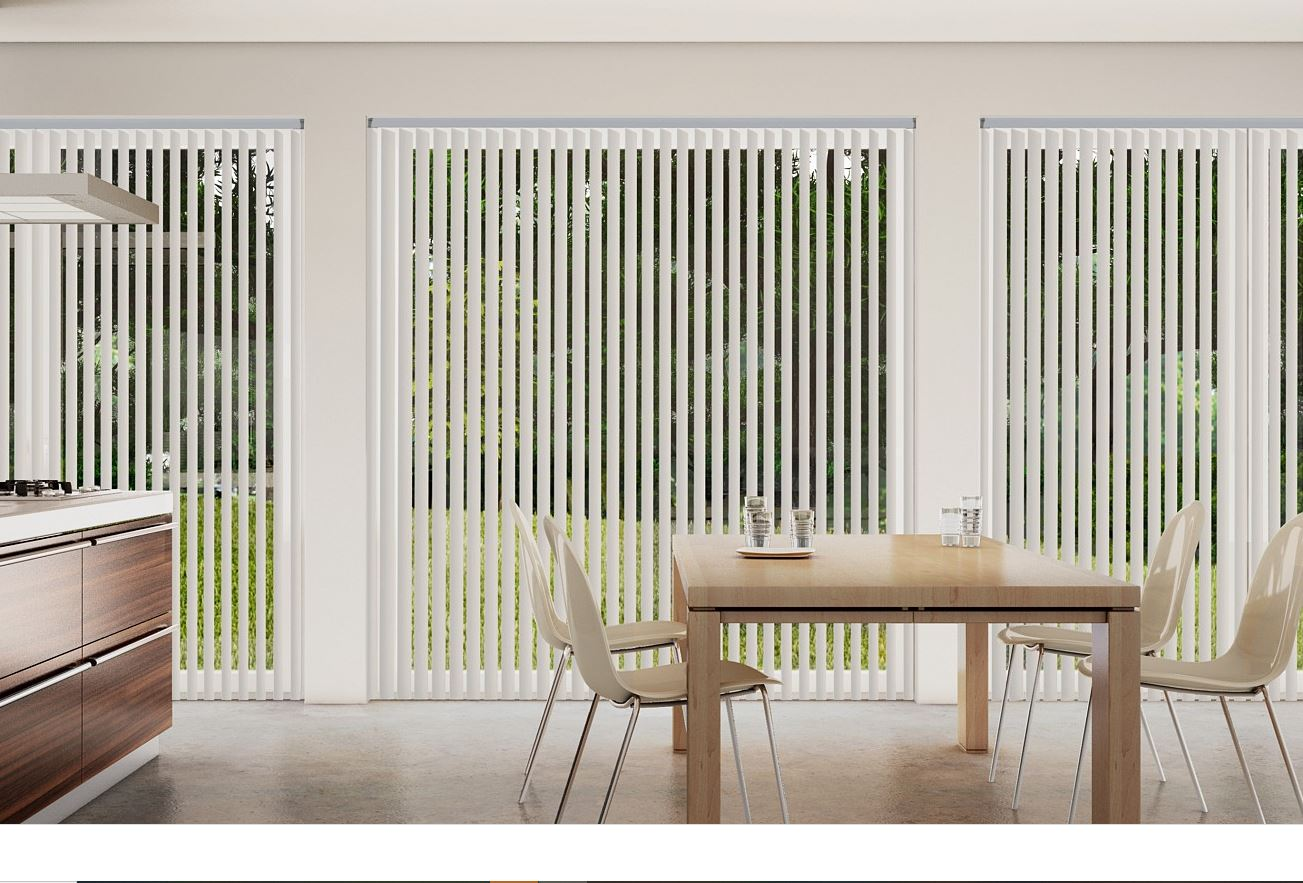 Palette Pearl Vertical Blinds in a kitchen