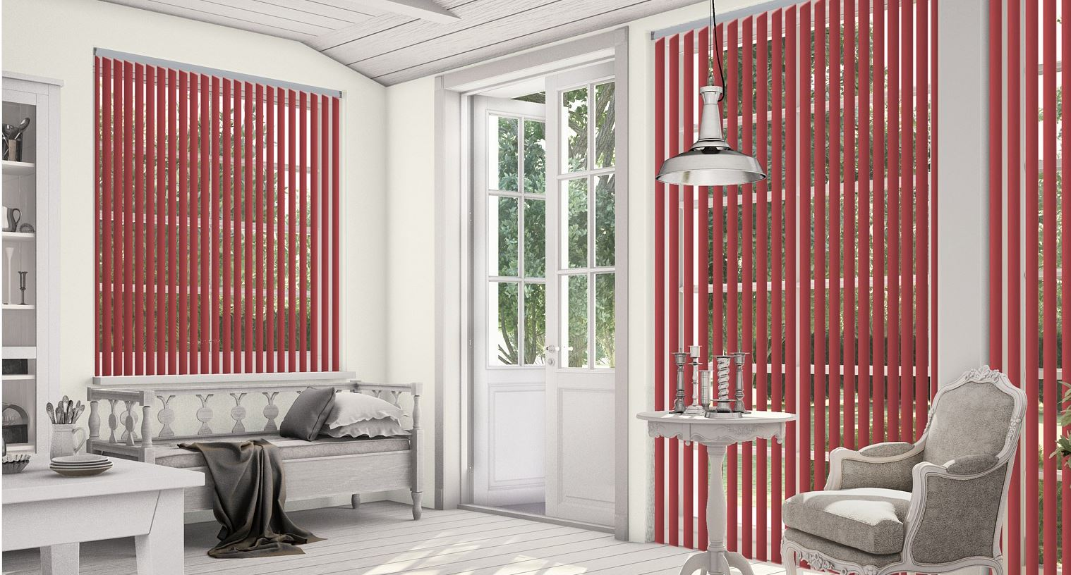 Palette Redcurrant Vertical Blinds in a conservatory