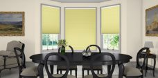 Rainbow Eggshell Pleated Blinds in a dining room