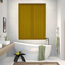 Rianna Lemon Zest Vertical blinds in a bathroom