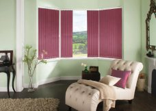 Rianna Mulberry Vertical Blinds in a lounge