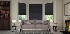 Somino Black Pleated Blinds in a lounge