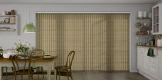 Tree Top lichen Pearl Vertical Blinds in a kitchen