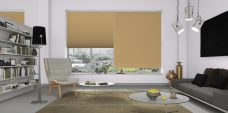 Valencia Pale Biscuit Pleated Blinds in a lounge