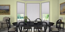 Valencia Pearl White Pleated Blinds in a dining room