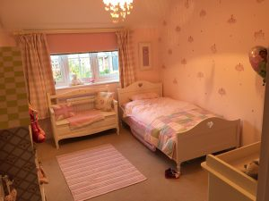 New Blocout Polka Dot Pink blind in bedroom