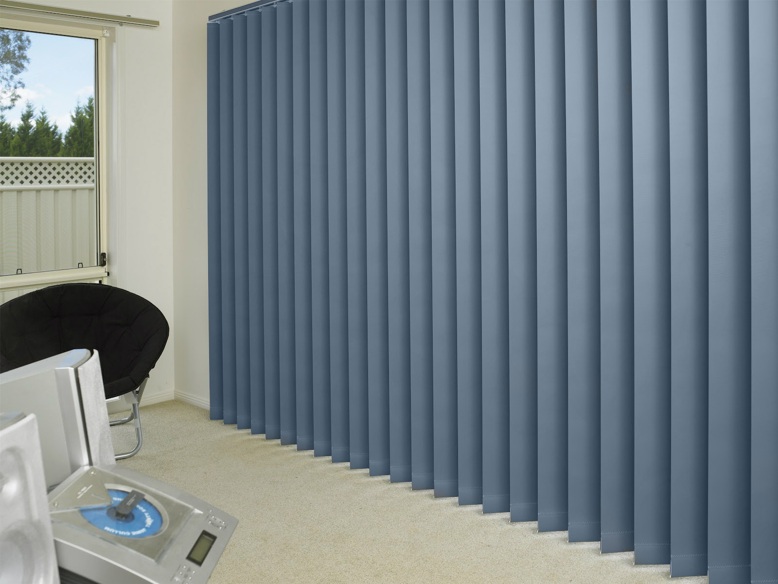 Palette Charcoal Vertical Blinds in a surgery