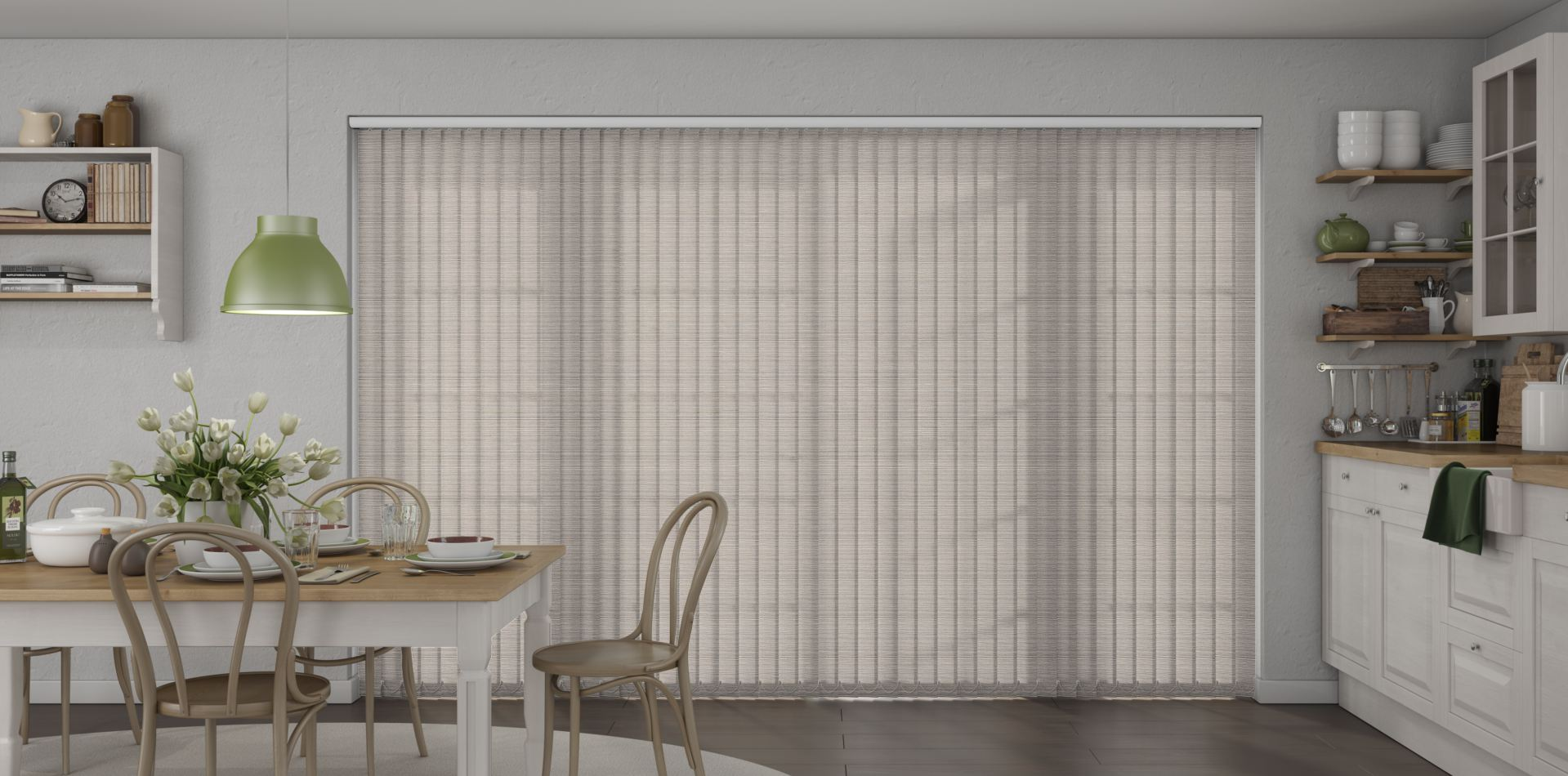 Tree House Firefly Pearl Vertical Blinds in a kitchen