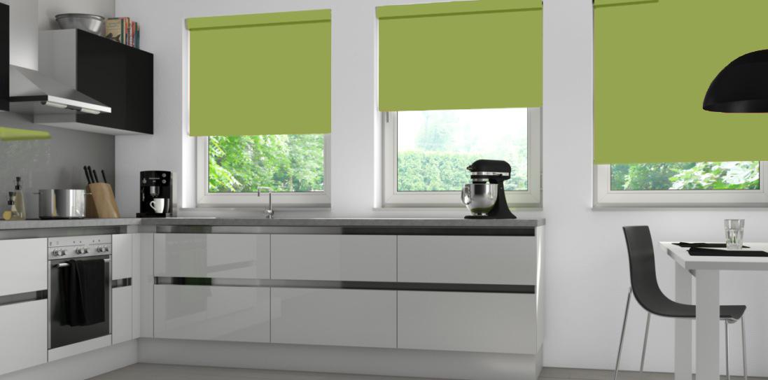 Aqua Safe Lime Senses Blinds in a kitchen