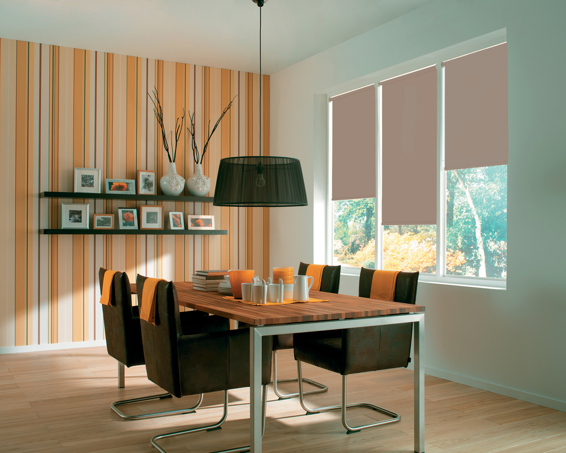 Spectrum Truffle Roller Blinds in a kitchen