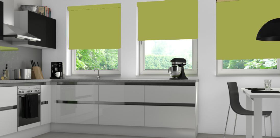 Three Palette Fresh Apple Senses Blinds in a kitchen