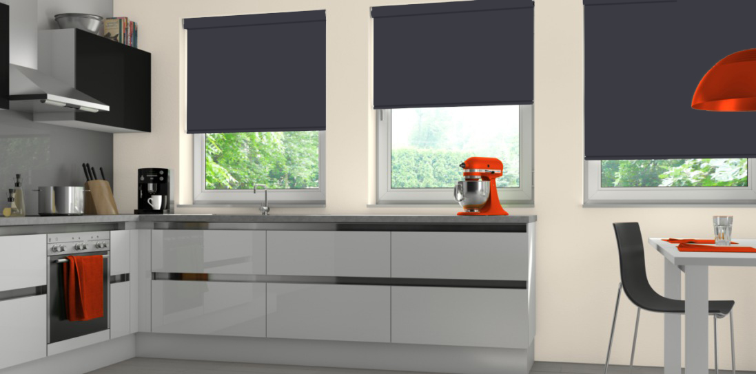 Three Spritzer Noir Senses Blinds in a kitchen