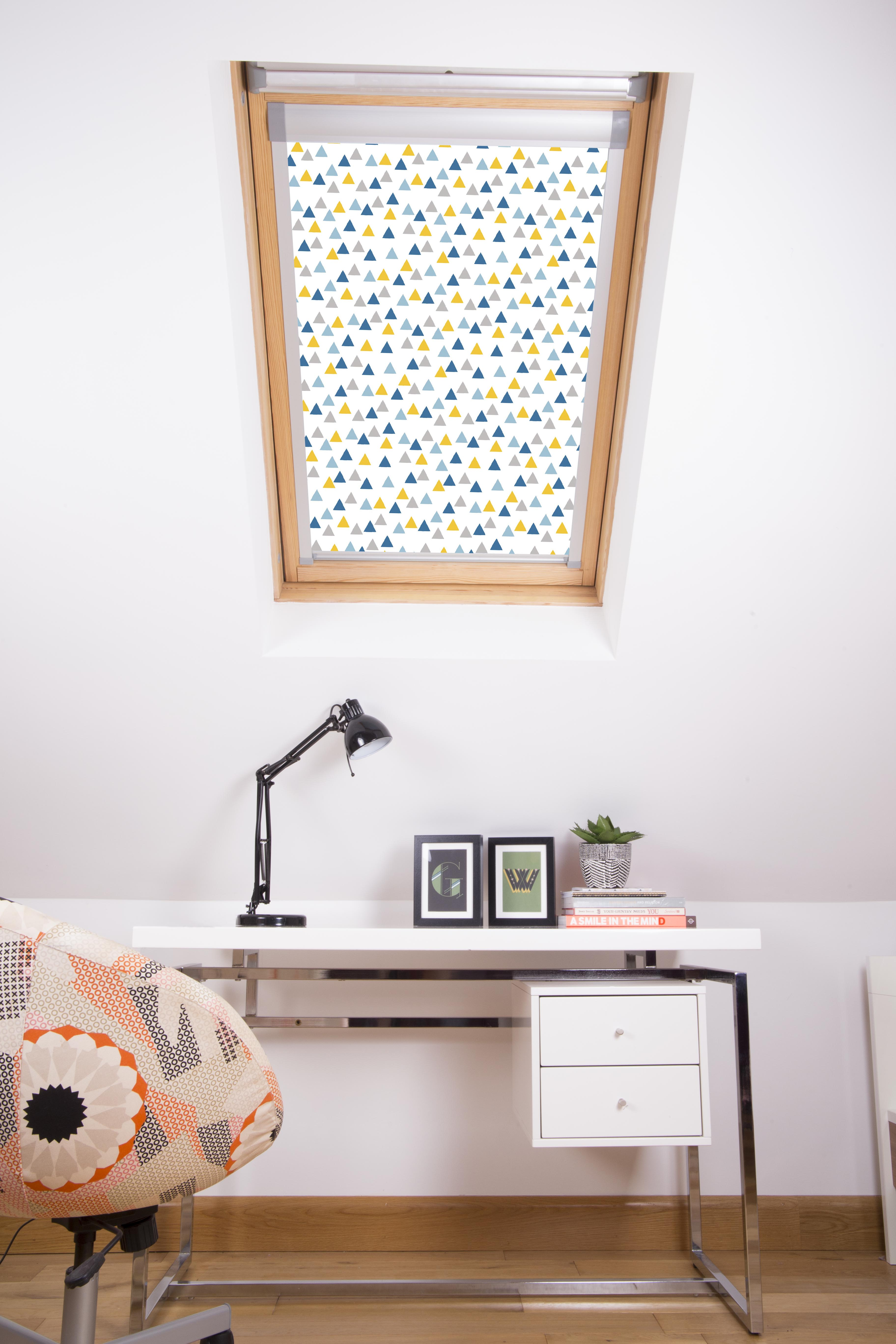 Funky Triangles Skylight Blue blind in closed position
