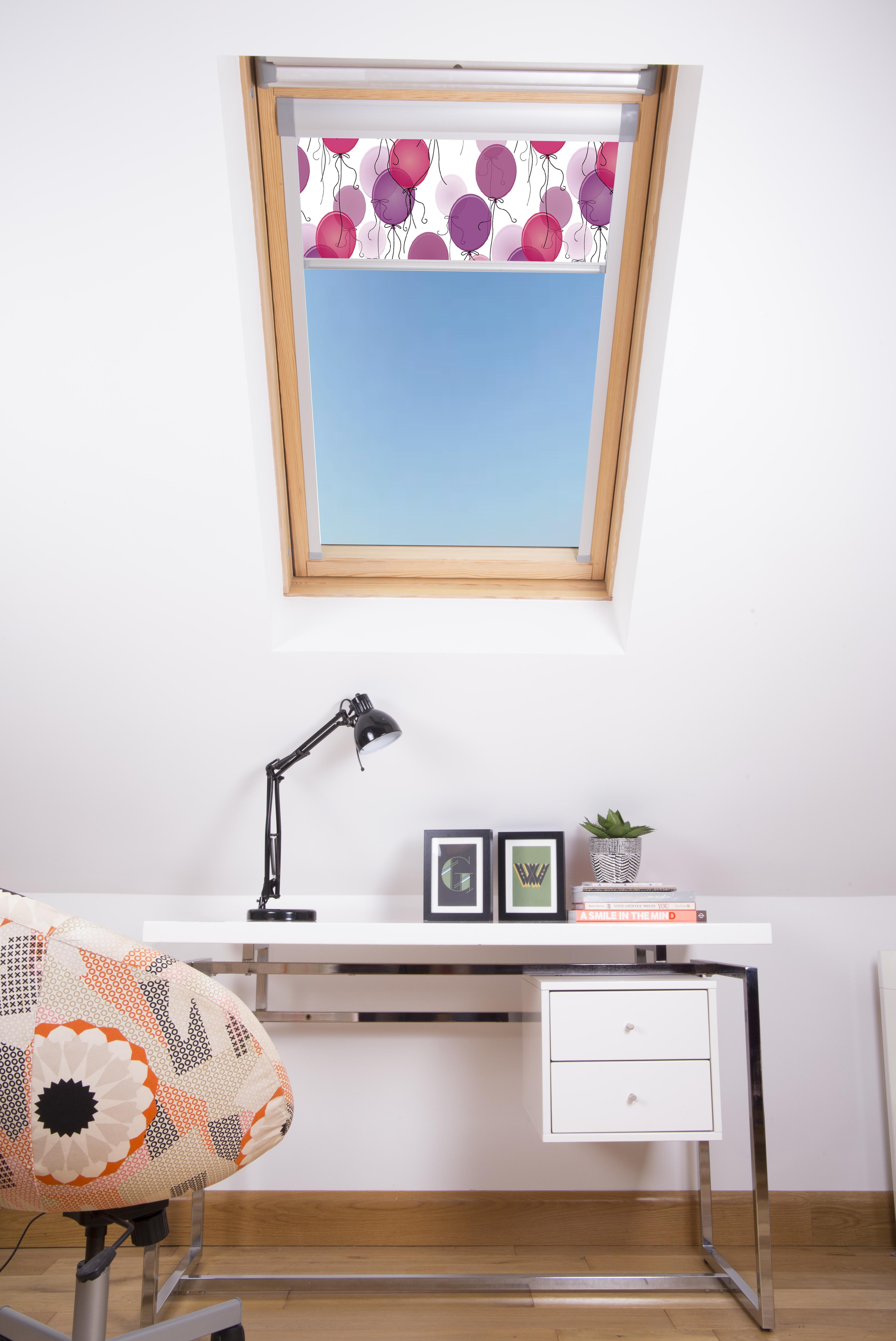 DIGIBB-Pink Balloons skylight blind in an office