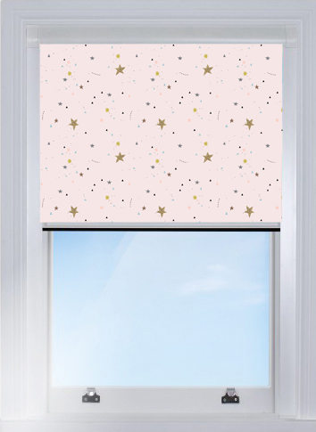 Crafty Stars Pink Blocout Blind