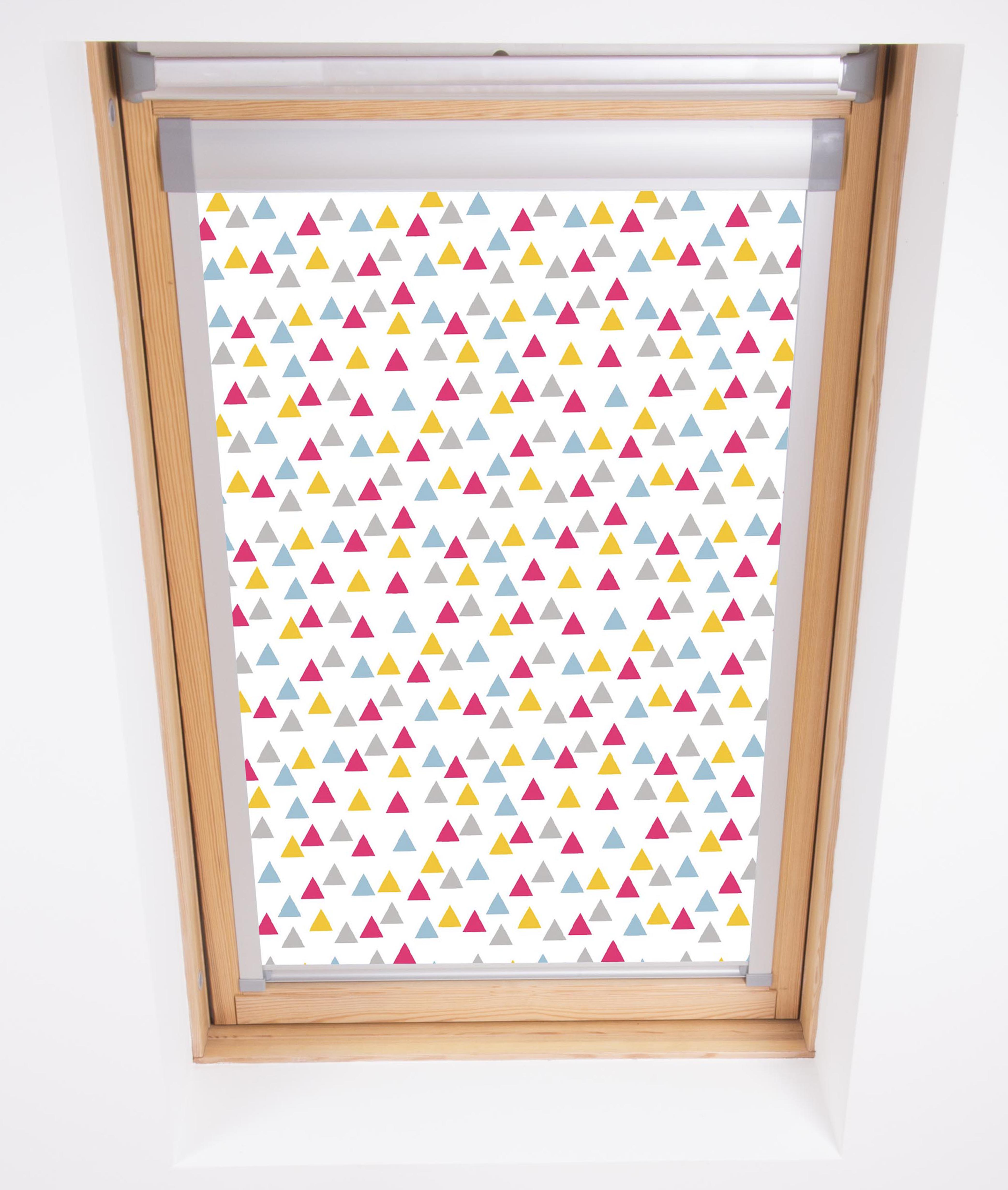 Funky Triangles Pink Skylight Blind in close up