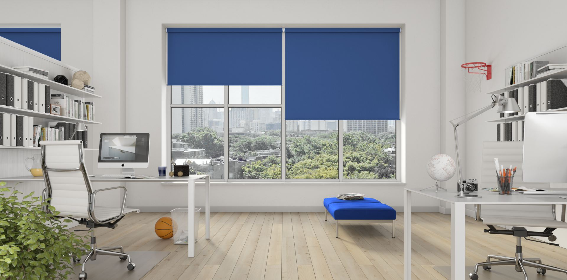 Banlight Duo Glacier Blue blinds in an office