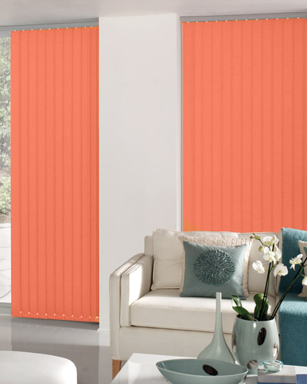 Carnival Cantaloupe Vertical blinds in a lounge