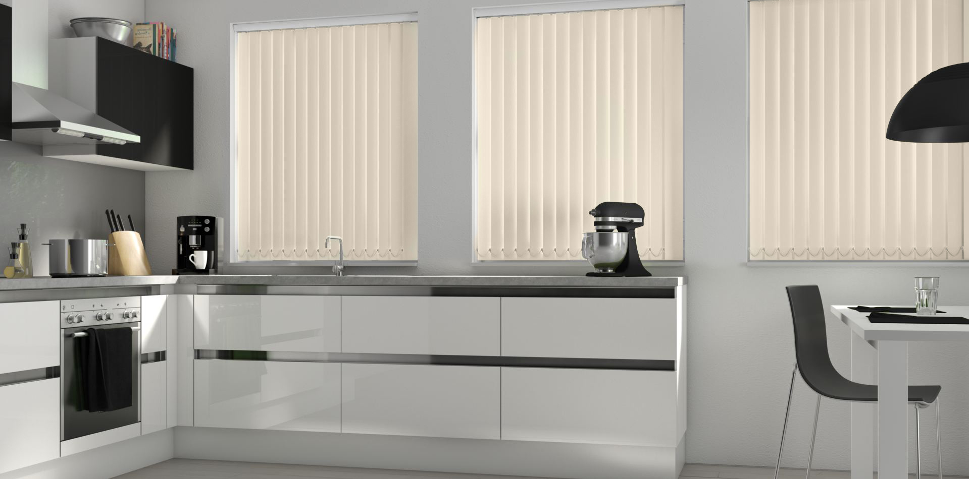 Three Guardian Parchment Vertical blinds in a kitchen