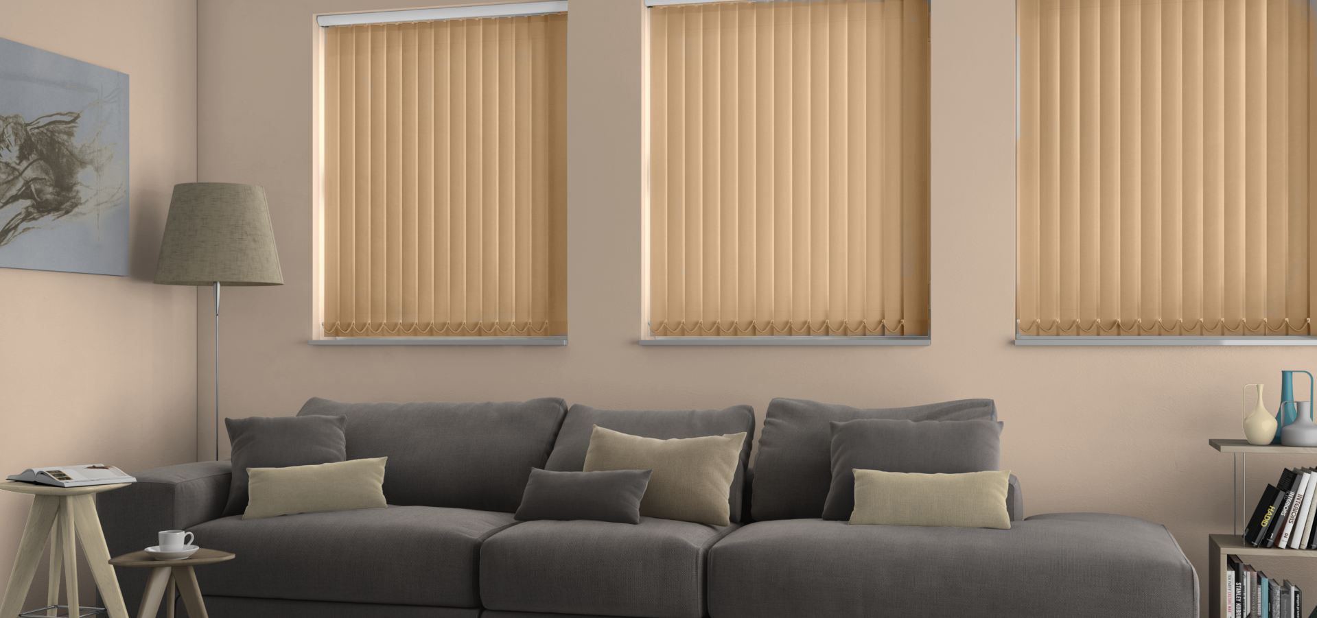 Polaris Barley Vertical blinds in a lounge