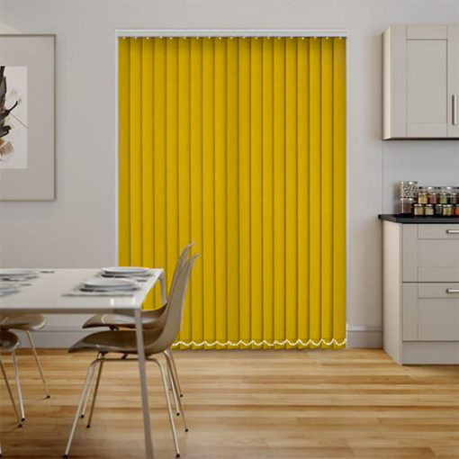 Polaris Daffodil Vertical blinds in a kitchen diner