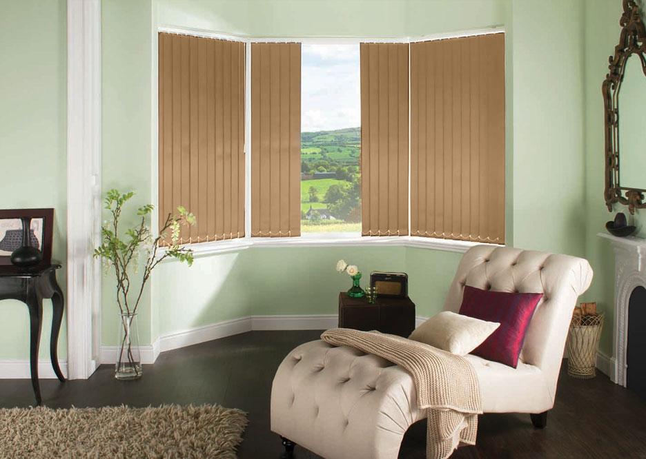 Polaris Ochre Vertical blinds in a lounge