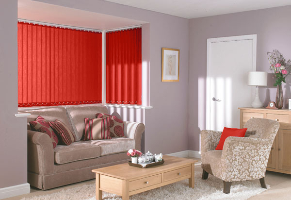 Polaris Red vertical blinds in a lounge